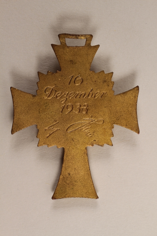 2000.263.1 back Cross of Honor of the German Mother medal, with ribbon, 1st Class Order, Gold Cross