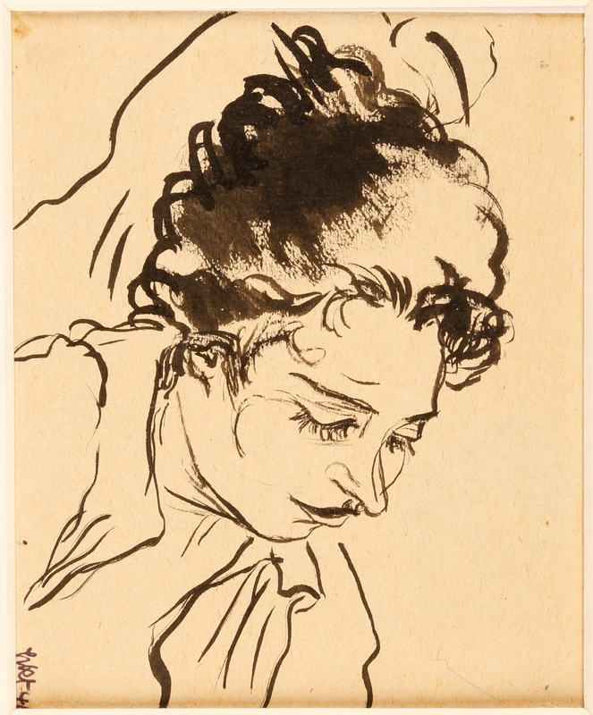 1988.1.7 front Ink drawing of woman sleeping at Gurs internment camp by a German Jewish internee