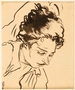 Ink drawing of woman sleeping at Gurs internment camp by a German Jewish internee