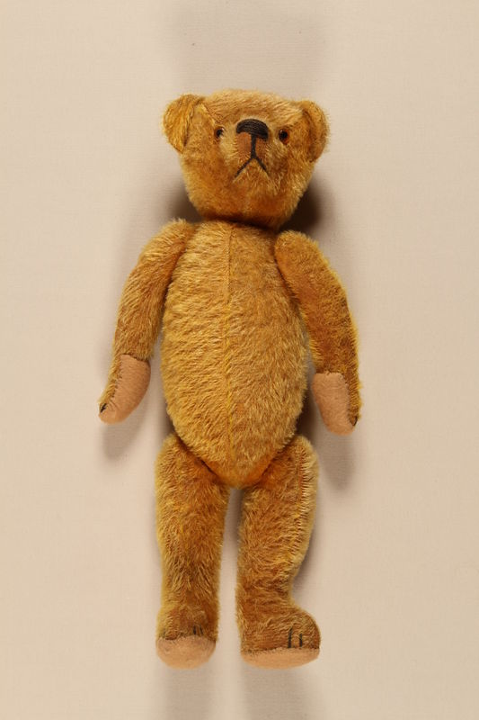 2000.326.1 front Teddy bear carried by a young boy on the Kindertransport