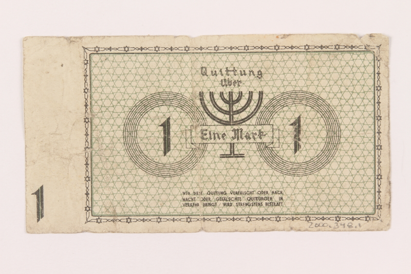 2000.348.1 back Lodz (Litzmannstadt) ghetto scrip, 1 mark note