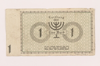 2000.348.1 back Lodz (Litzmannstadt) ghetto scrip, 1 mark note  Click to enlarge