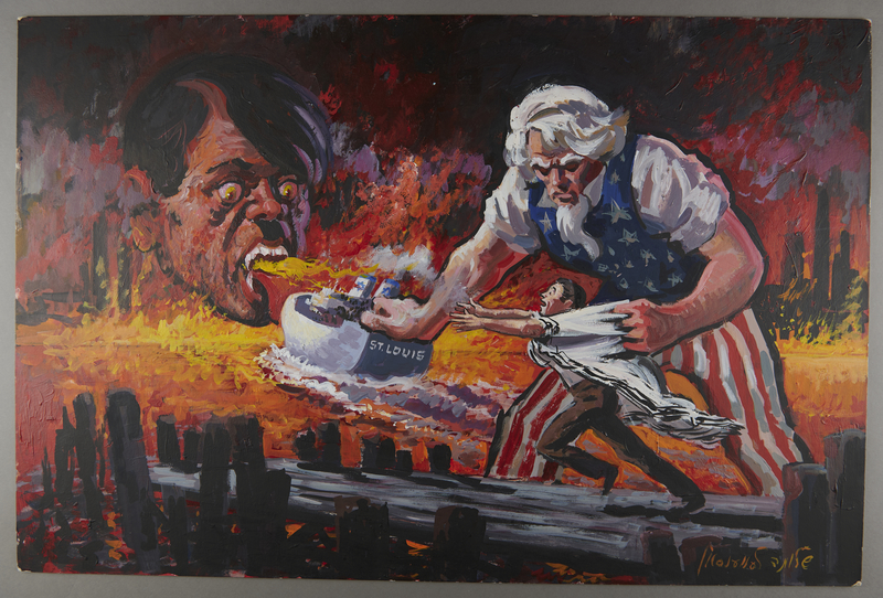 2000.358.1 front Painting of Uncle Sam pushing the MS St Louis into the flaming mouth of Hitler