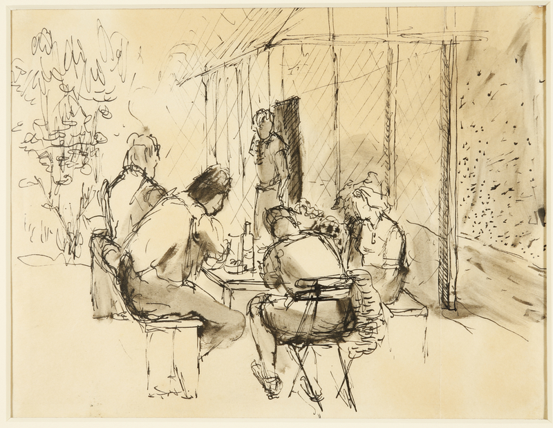 1988.1.70 front Drawing of five women in front of barracks by a German Jewish internee