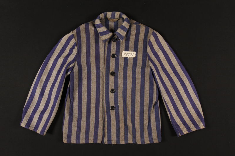 2001.154.1 front Concentration camp inmate uniform jacket
