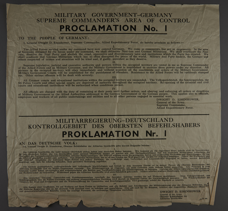 2001.244.1 front Broadside proclamation from General Eisenhower