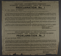 2001.244.1 front Broadside proclamation from General Eisenhower  Click to enlarge