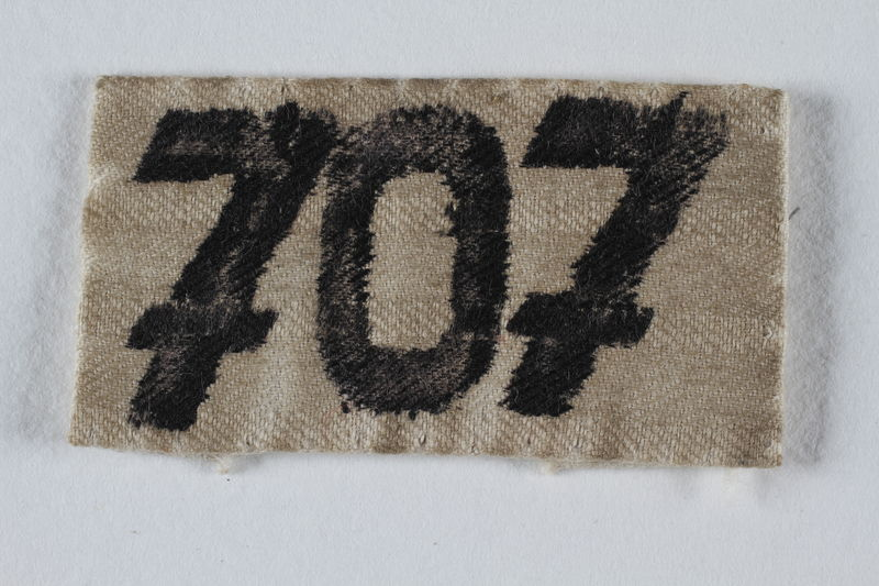 2001.254.3.1 front Numbered badge from a concentration camp prisoner's uniform