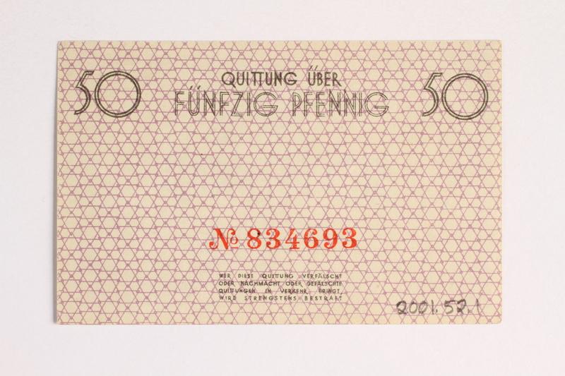 2001.52.1 back Łódź (Litzmannstadt) ghetto scrip, 50 pfennig note