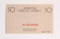 2001.52.1 back Łódź (Litzmannstadt) ghetto scrip, 50 pfennig note  Click to enlarge