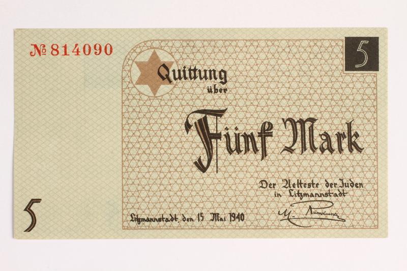 2001.52.4 front Łódź (Litzmannstadt) ghetto scrip, 5 mark note
