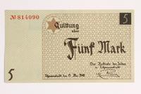 2001.52.4 front Łódź (Litzmannstadt) ghetto scrip, 5 mark note  Click to enlarge