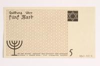 2001.52.4 back Łódź (Litzmannstadt) ghetto scrip, 5 mark note  Click to enlarge