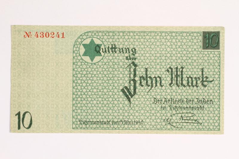 2001.52.5 front Łódź (Litzmannstadt) ghetto scrip, 10 mark note