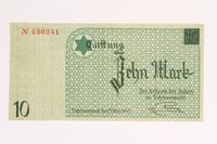 2001.52.5 front Łódź (Litzmannstadt) ghetto scrip, 10 mark note  Click to enlarge