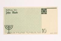 2001.52.5 back Łódź (Litzmannstadt) ghetto scrip, 10 mark note  Click to enlarge