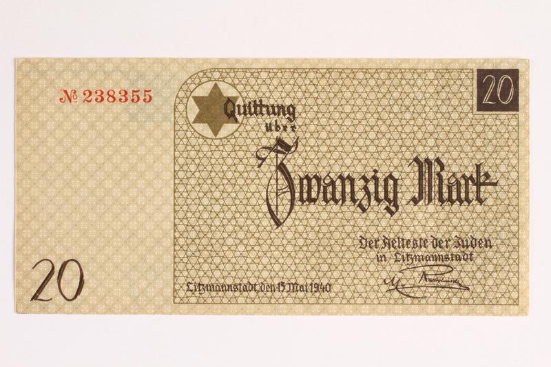 2001.52.6 front Łódź (Litzmannstadt) ghetto scrip, 20 mark note