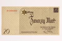 2001.52.6 front Łódź (Litzmannstadt) ghetto scrip, 20 mark note  Click to enlarge