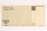 2001.52.6 back Łódź (Litzmannstadt) ghetto scrip, 20 mark note  Click to enlarge