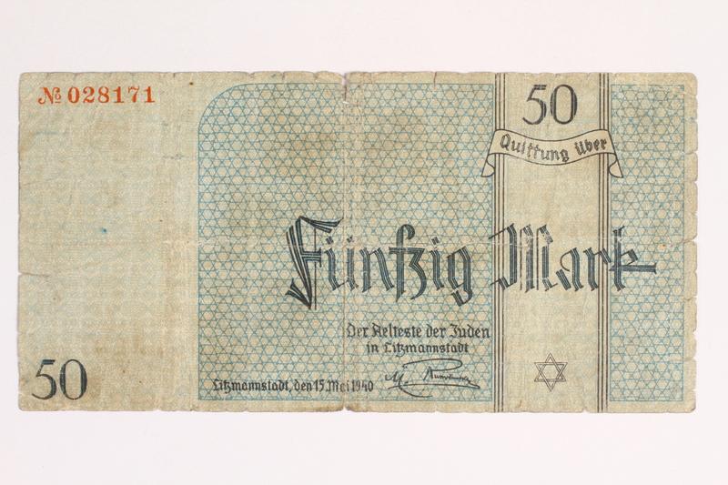 2001.52.7 front Łódź (Litzmannstadt) ghetto scrip, 50 mark note