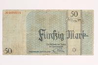 2001.52.7 front Łódź (Litzmannstadt) ghetto scrip, 50 mark note  Click to enlarge