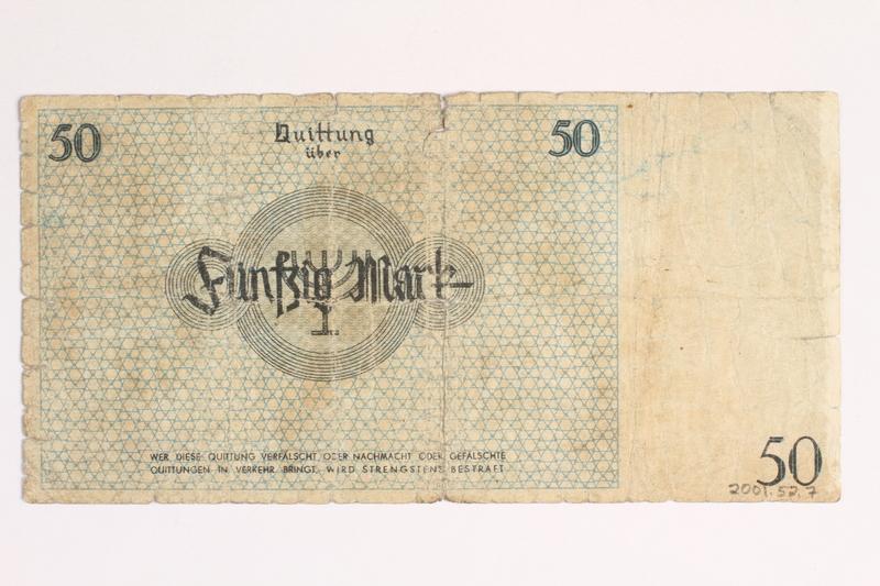 2001.52.7 back Łódź (Litzmannstadt) ghetto scrip, 50 mark note