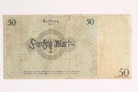 2001.52.7 back Łódź (Litzmannstadt) ghetto scrip, 50 mark note  Click to enlarge