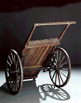 2003.125.1_flat bed cart_rear view Cart used by forced labor prisoners at Theresienstadt ghetto-labor camp