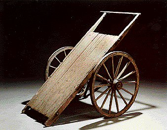 2003.125.1_flat bed cart_font view Cart used by forced labor prisoners at Theresienstadt ghetto-labor camp