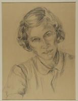 1988.1.72 front Portrait of woman with short hair by a German Jewish internee  Click to enlarge