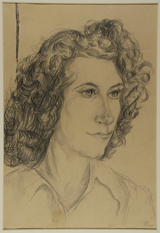 1988.1.73 front Portrait of woman with long curly hair by a German Jewish internee