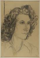 1988.1.73 front Portrait of woman with long curly hair by a German Jewish internee  Click to enlarge