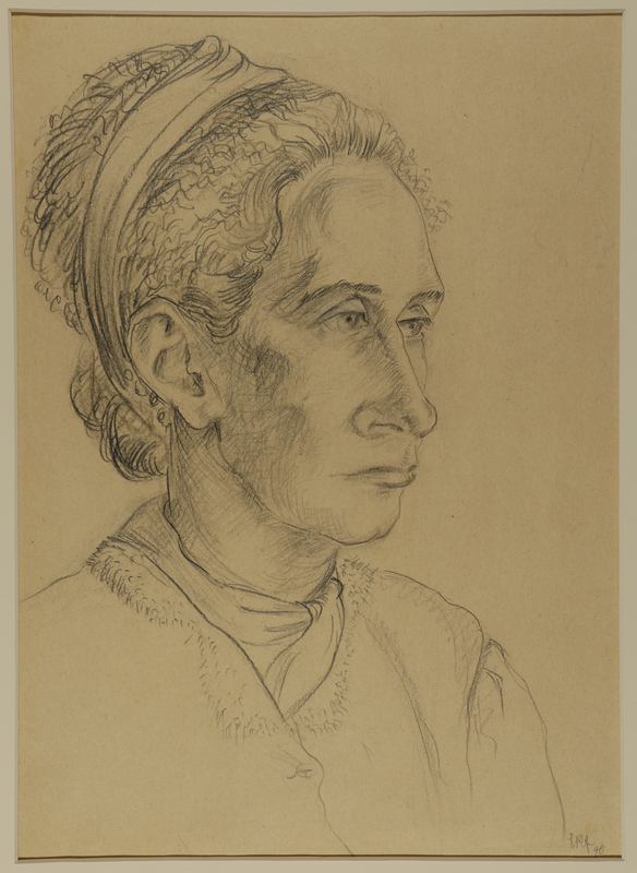 1988.1.74 front Portrait of woman with hair pulled back by a German Jewish internee