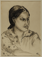 1988.1.78 front Portrait of a young Hindu woman by a German Jewish internee  Click to enlarge