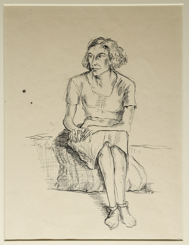 1988.1.8 front Portrait of a seated woman drawn by a German Jewish internee