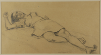 1988.1.82 front Drawing of a woman sleeping on her back by a German Jewish internee  Click to enlarge