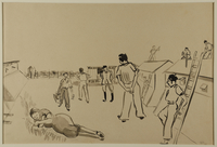 1988.1.84 front Drawing of a scene outside barracks by a German Jewish internee  Click to enlarge