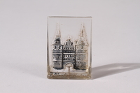 2014.480.65 front Glass piece depicting the Holsten gate in Lubeck  Click to enlarge
