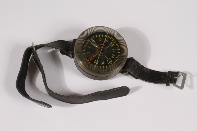 2014.480.70 front Kadlec liquid filled AK39 German wrist compass found by a US soldier