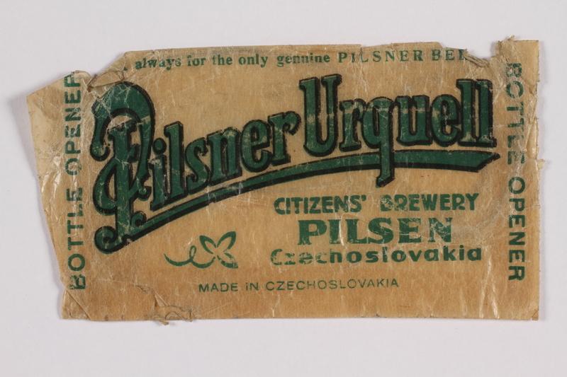 2014.480.75 front Packaging from Pilsner Urquelle beer bottle opener, Pilsen, Czechoslovakia