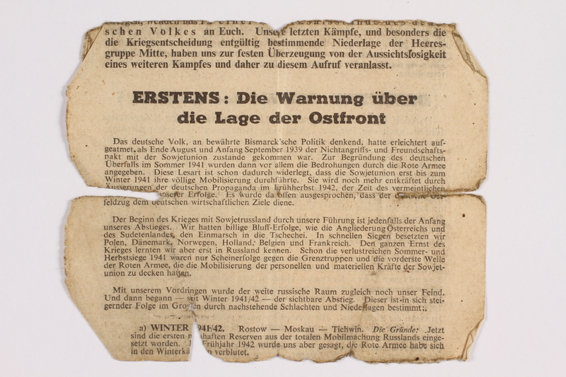 2014.480.77 b front Psychological warfare leaflet in German