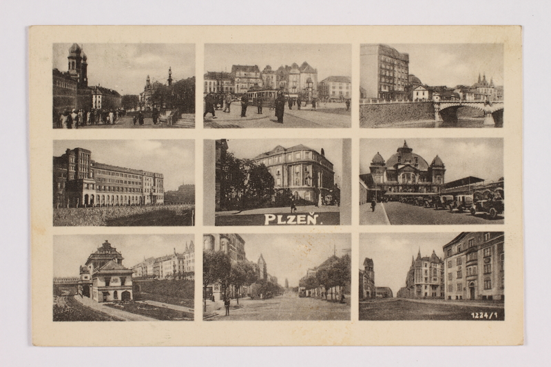 2014.480.83 front Postcard with multiple images of Plzen