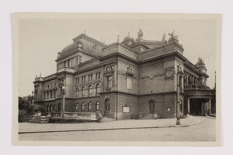 2014.480.84 front Postcard of the State Theater of Plzen