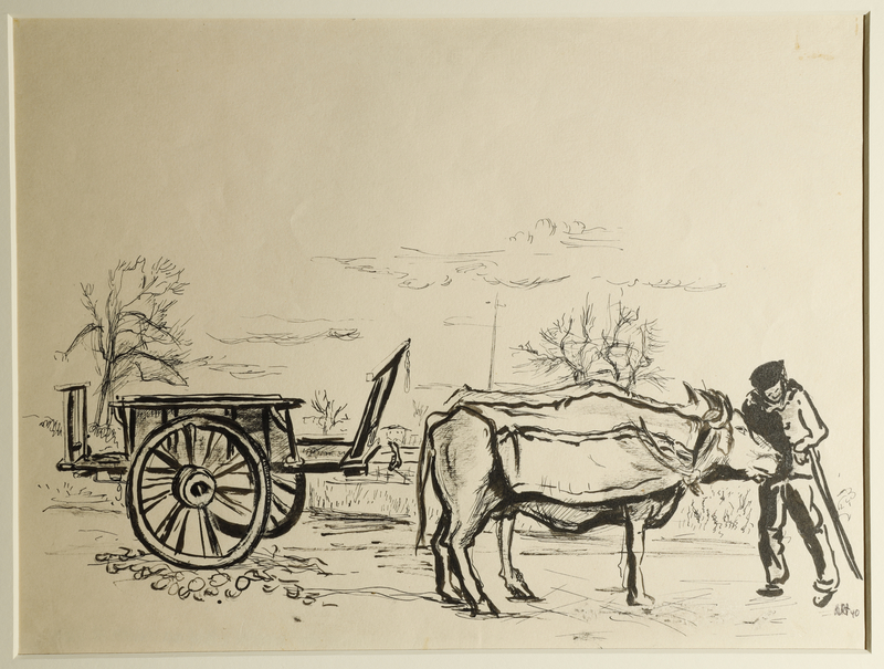 1988.1.86 front Drawing of an ox-drawn wagon by a German Jewish internee