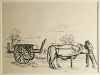 1988.1.86 front Drawing of an ox-drawn wagon by a German Jewish internee  Click to enlarge