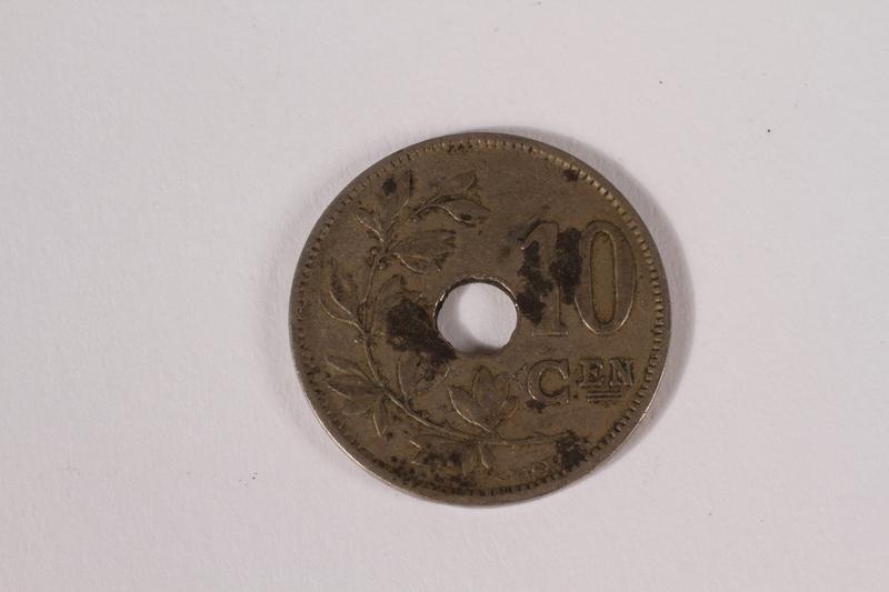 2014.480.7 back Belgium, ten centime coin
