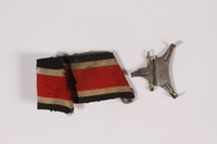 2014.480.9 a-b front German Iron Cross ribbon with pin acquired by an American soldier  Click to enlarge