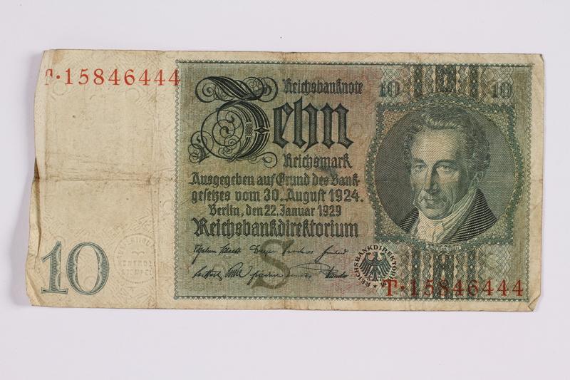 2014.480.124 front German ten Reichsmark Reischsbanknote
