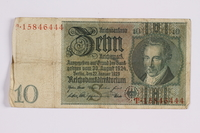2014.480.124 front German ten Reichsmark Reischsbanknote  Click to enlarge