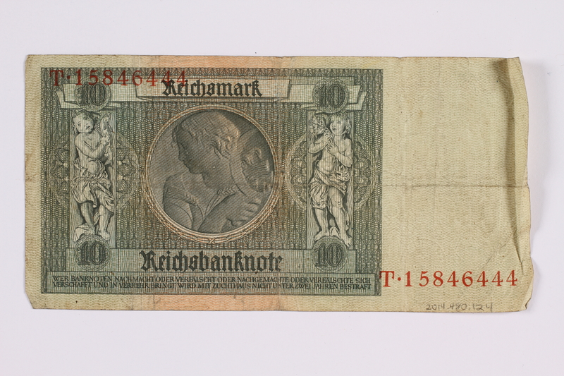 2014.480.124 back German ten Reichsmark Reischsbanknote